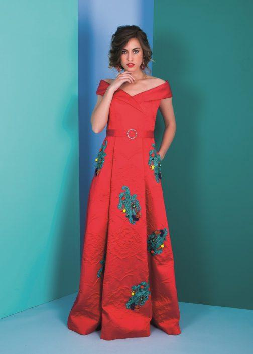 vestido largo rojo fiesta