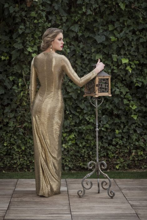 vestido dorado fiesta
