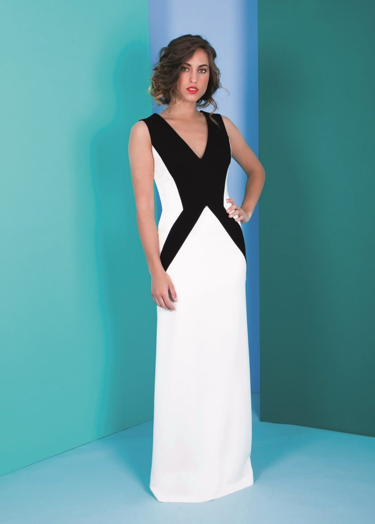 vestido blanco y negro fiesta