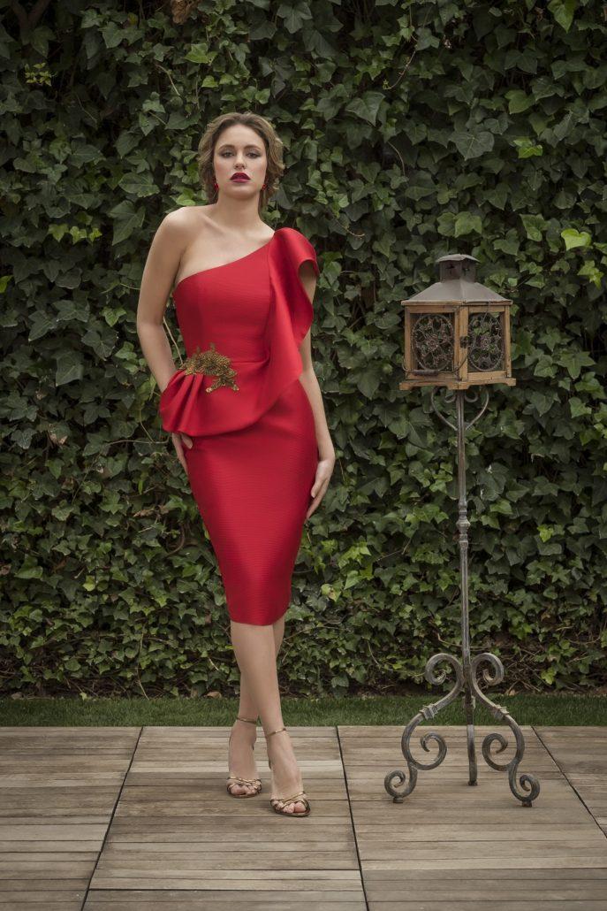 vestido cóctel rojo