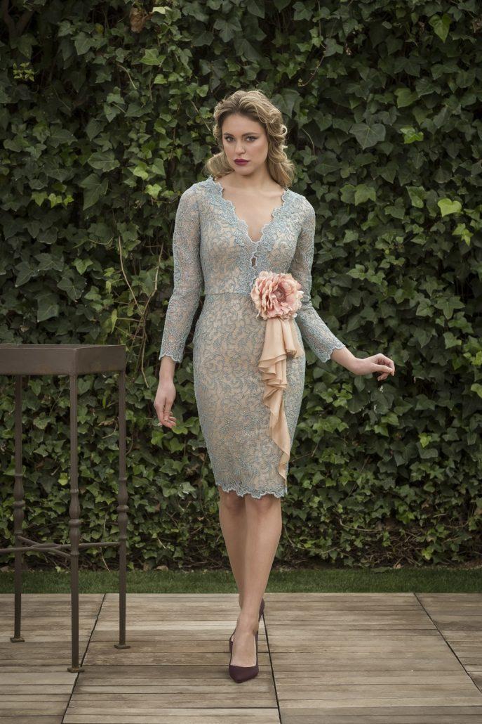 vestido corto encaje cocktail