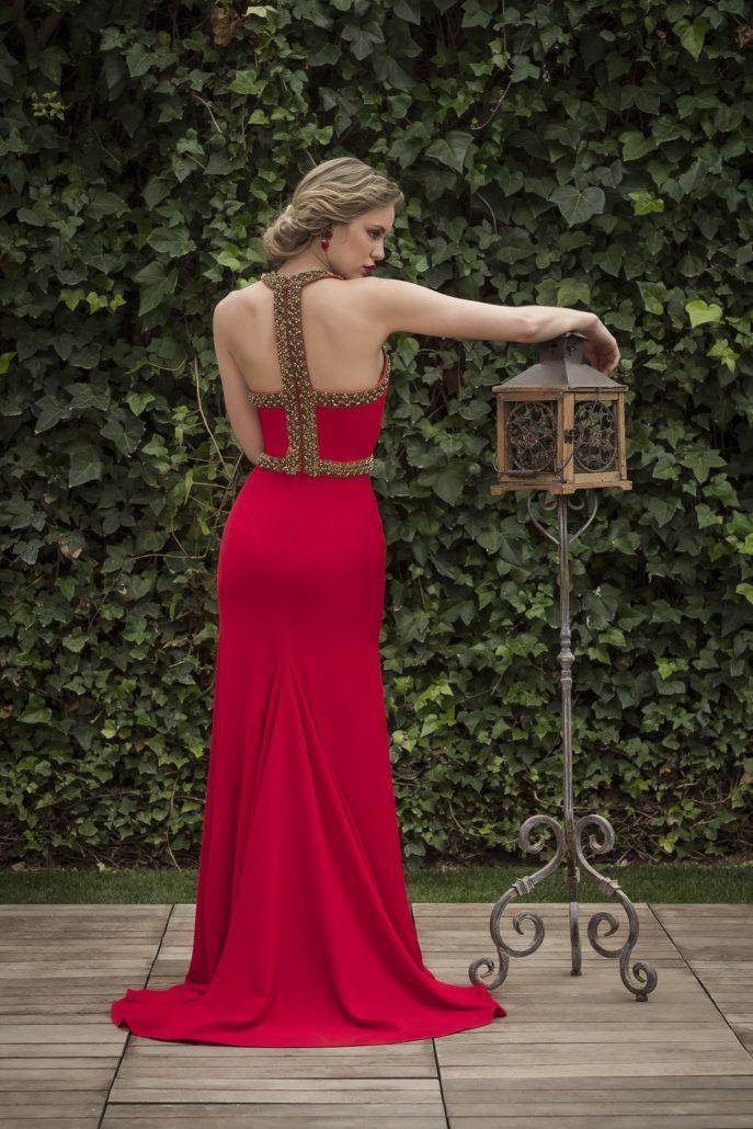 vestido de fiesta escote espalda