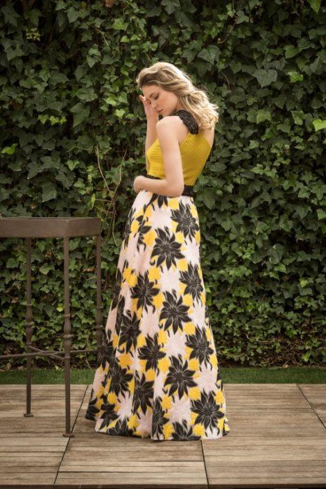 vestido largo asimétrico de fiesta