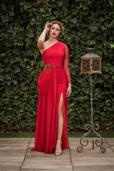 vestido fiesta rojo encajes