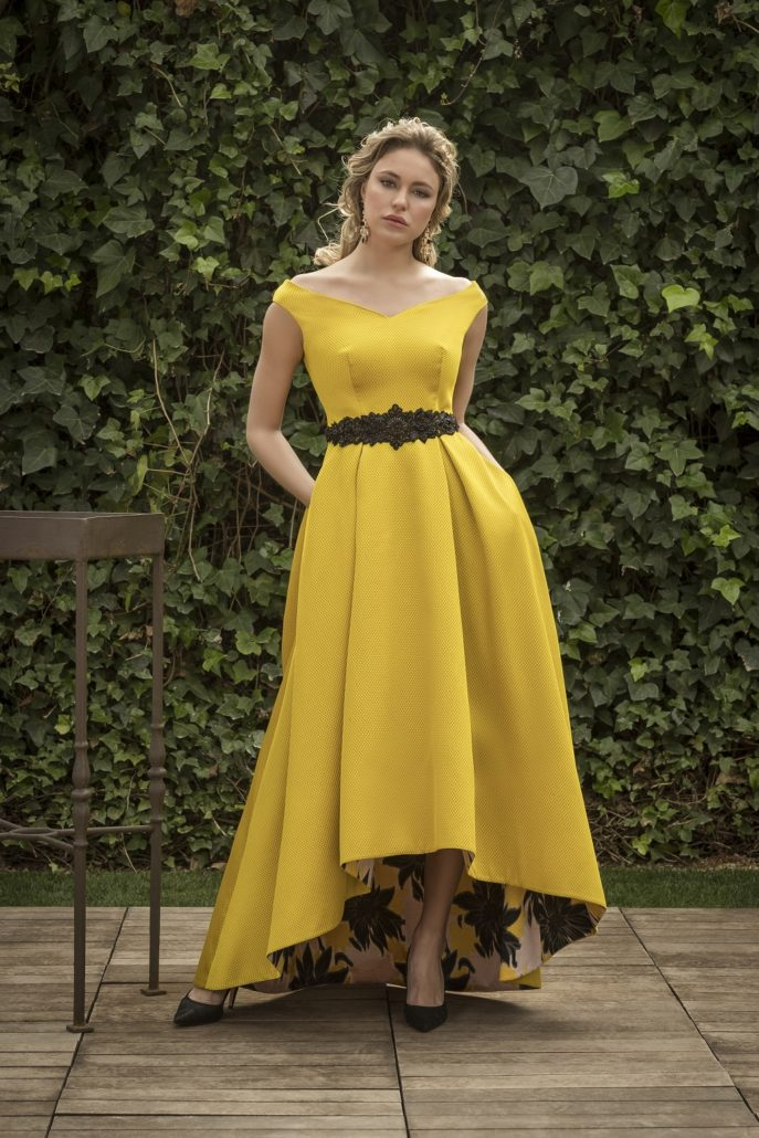 vestido fiesta largo amarillo