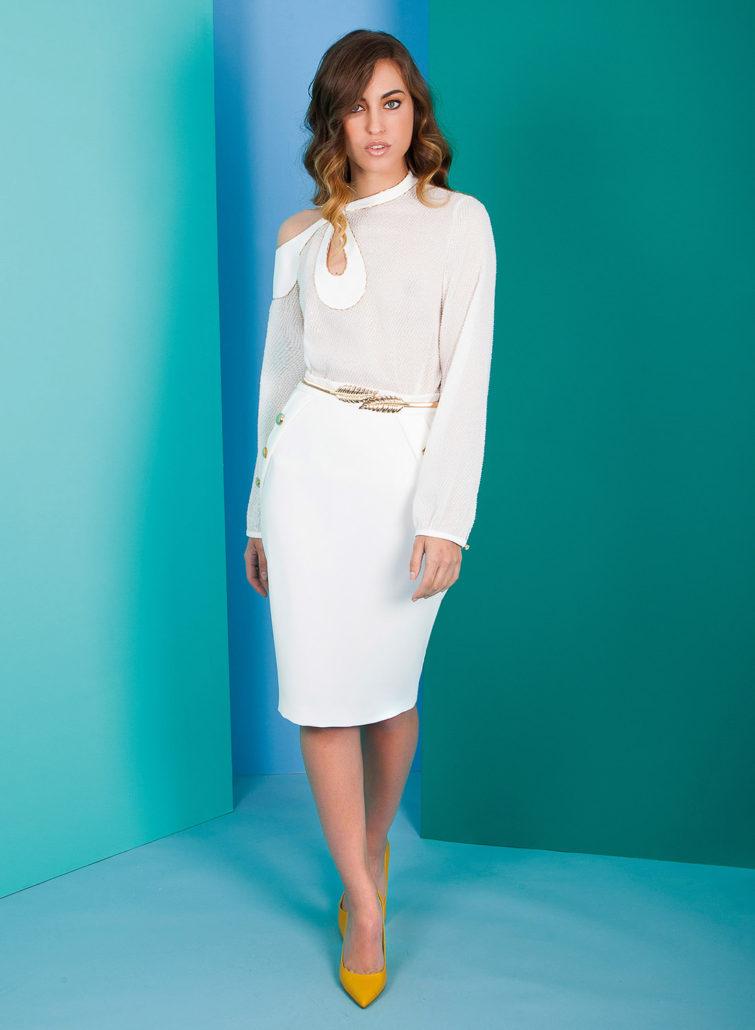 vestido para mujer blanco hombro descubierto
