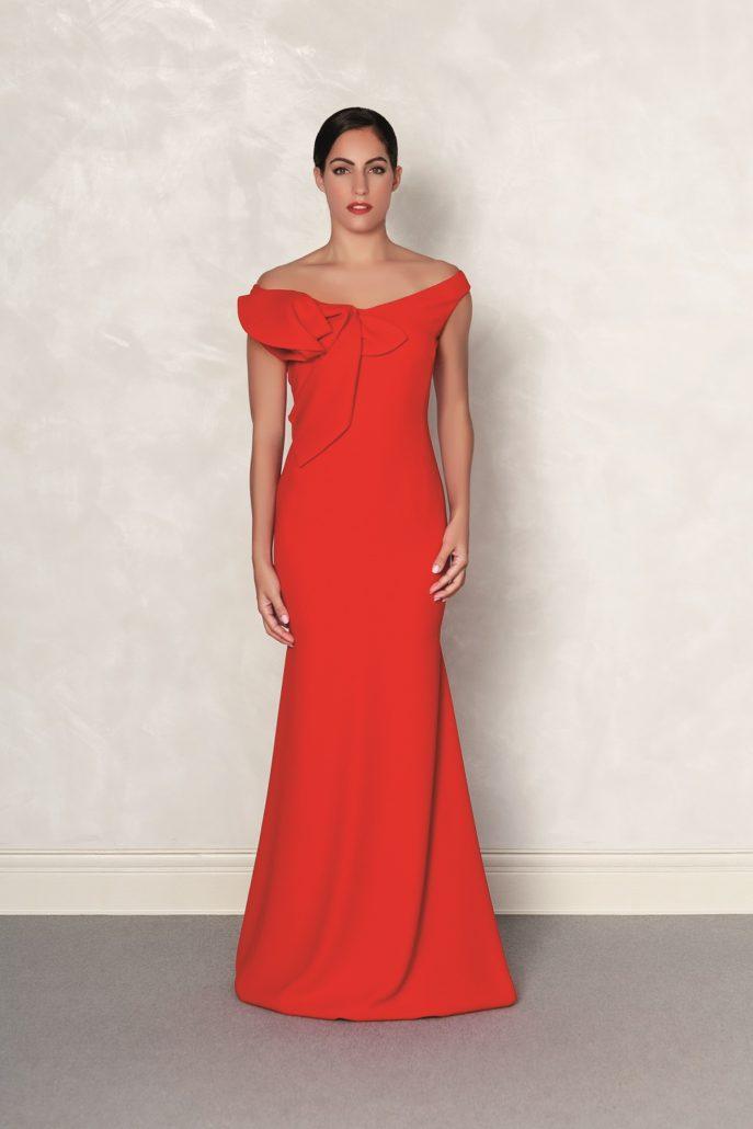 vestido largo para madrina rojo