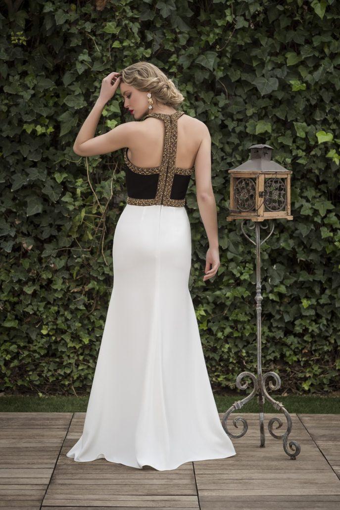 vestido largo blanco y negro fiesta