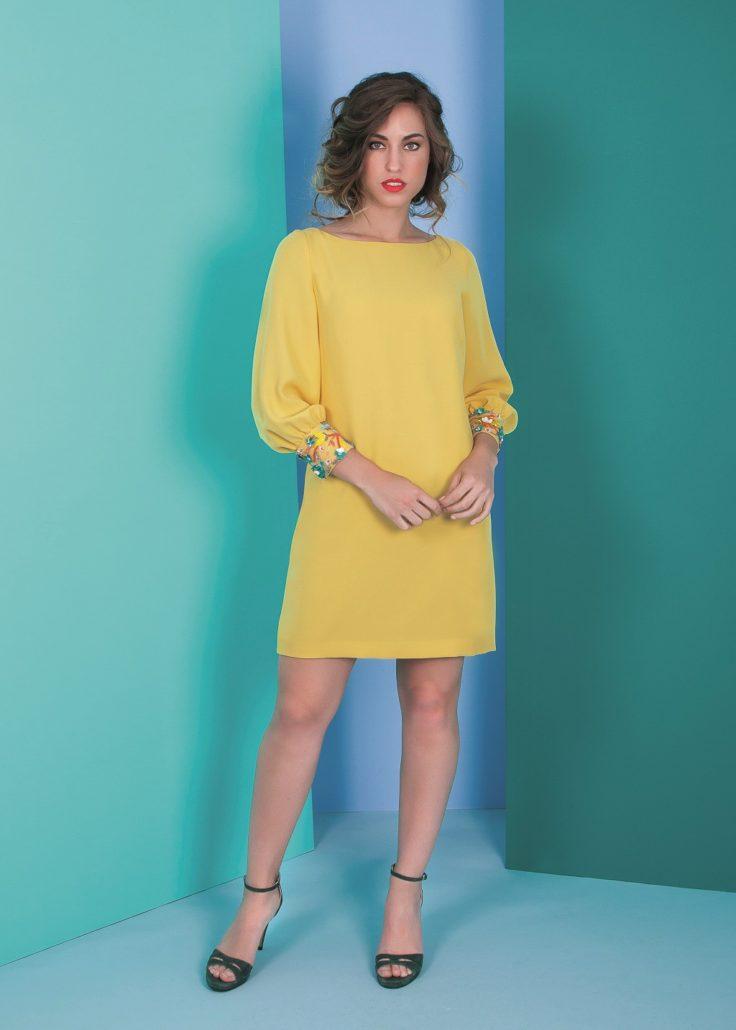 vestido amarillo cóctel