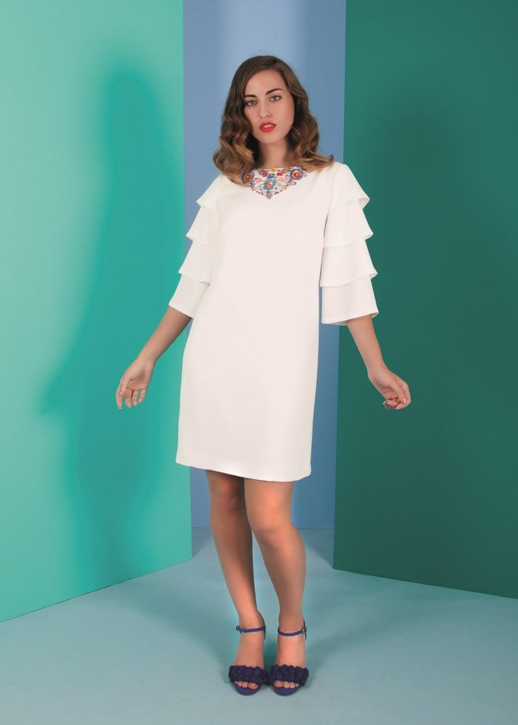 vestido de fiesta corto blanco