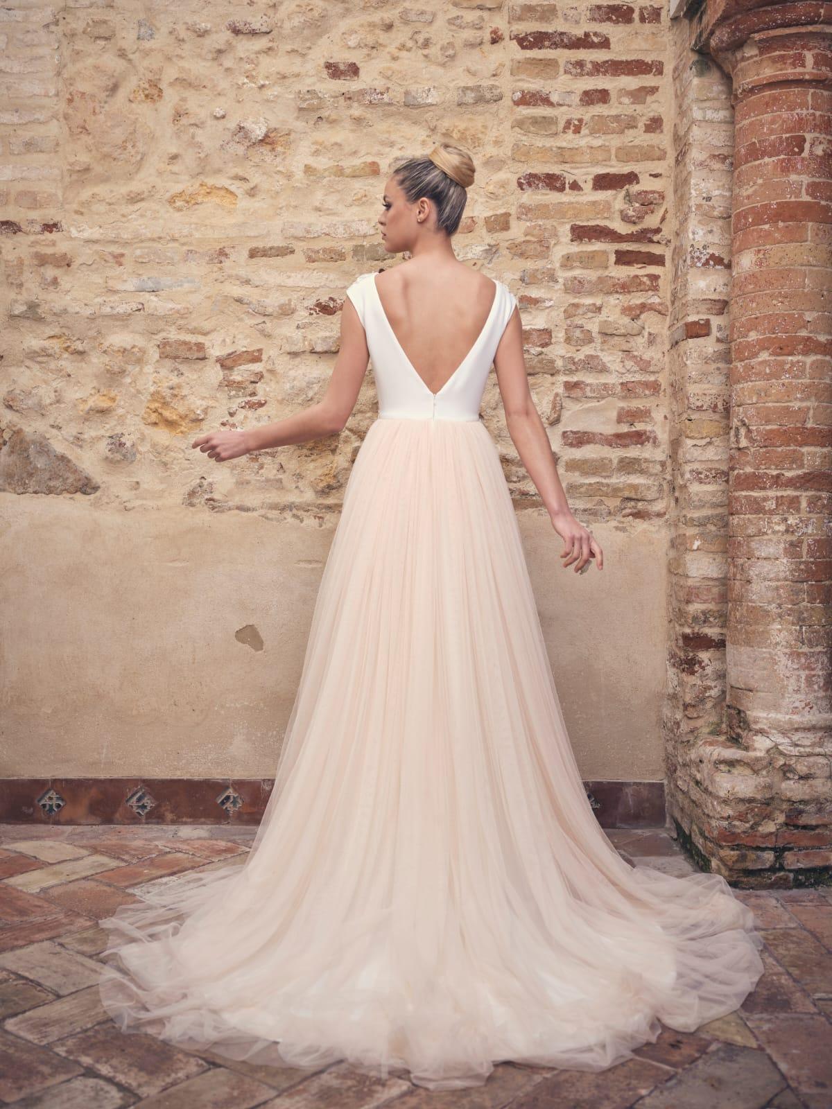vestido de novia corte v bicolor