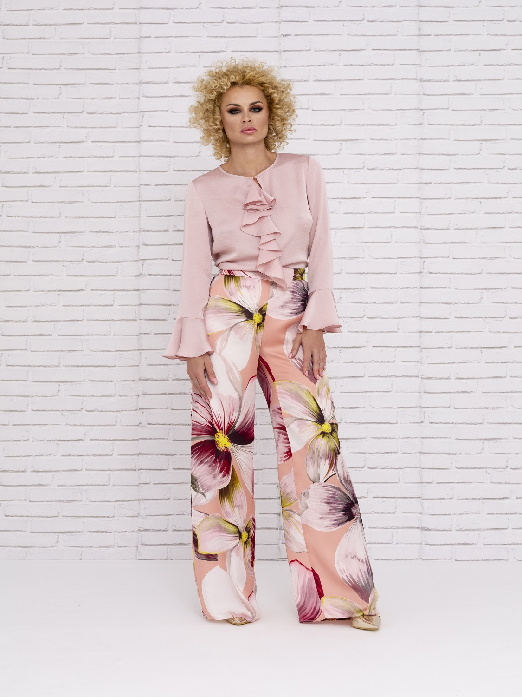 Blusa de vestir de seda con volante 2020