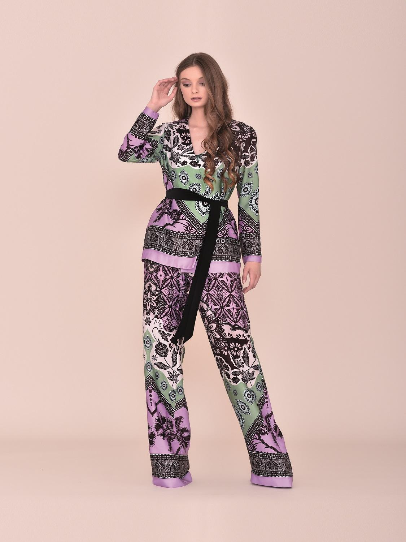 Conjunto Levita pantalón de fiesta en tonos burdeos y verdes verano