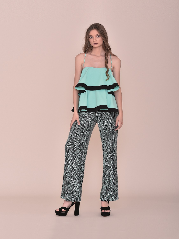 Conjunto fiesta verano pantalón con top con volantes