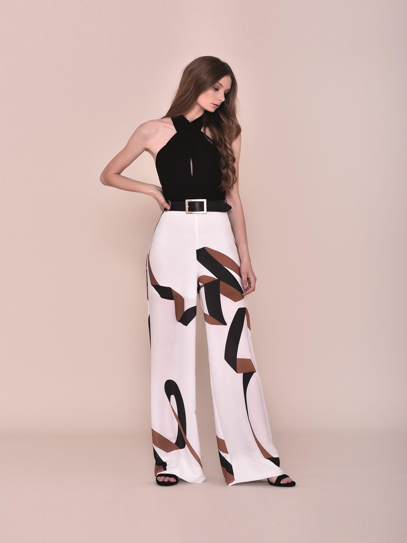 Conjunto pantalón blanco y negro fiesta