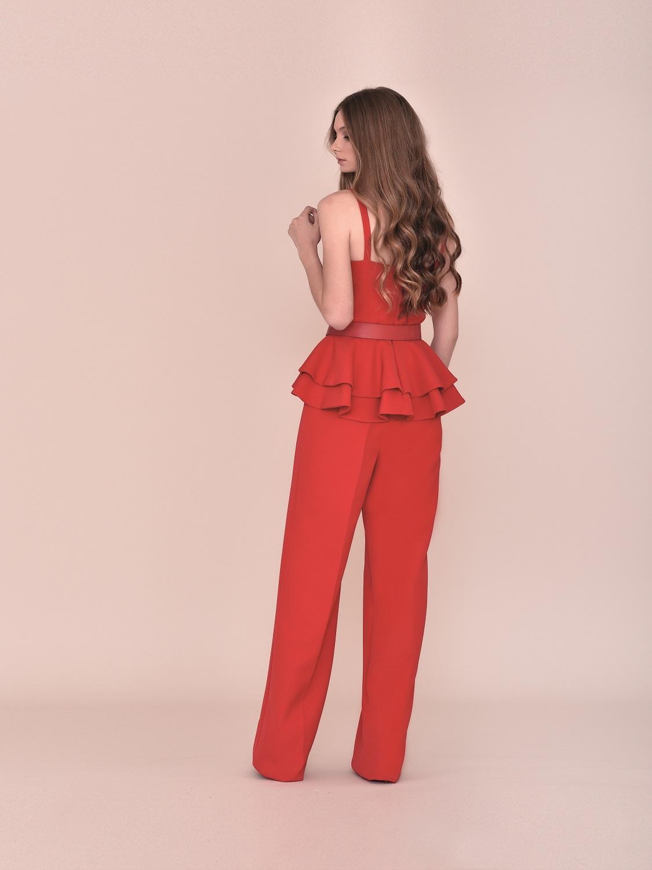 Conjunto pantalón fiesta rojo palabra de honor 2020