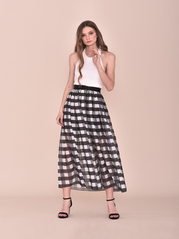 Falda de vestir midi de cuadros blanco y negros 2020