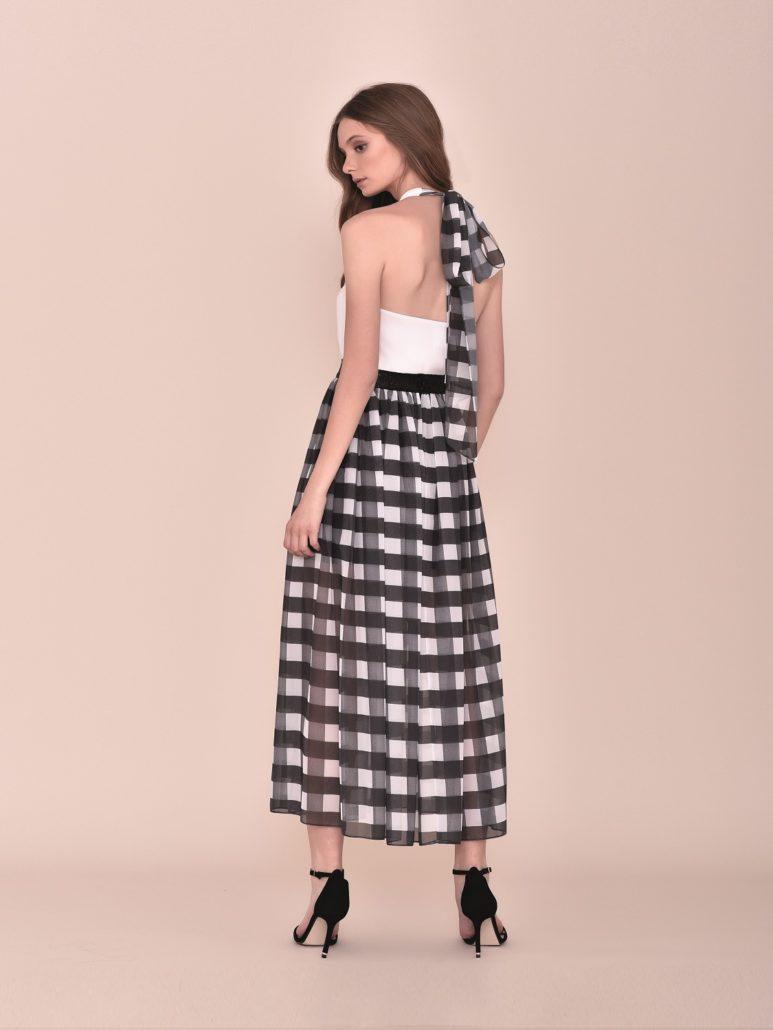 Falda de vestir midi de cuadros blanco y negros primavera 2020