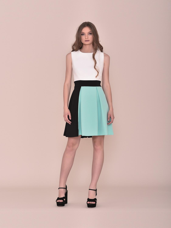 Vestido corto de fiesta juvenil tricolor verano