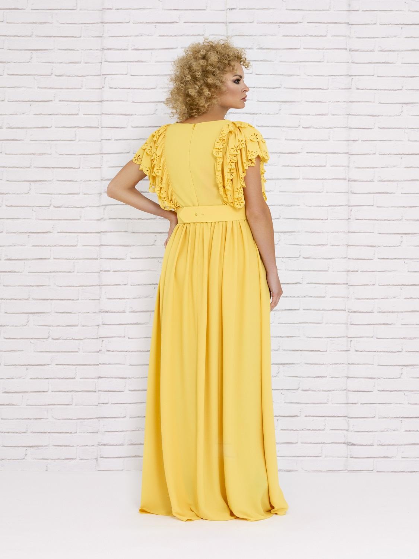 Vestido de cóctel amarillo verano 2020