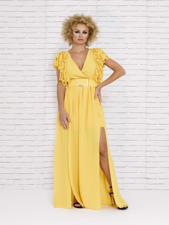 Vestido de cóctel amarillo verano