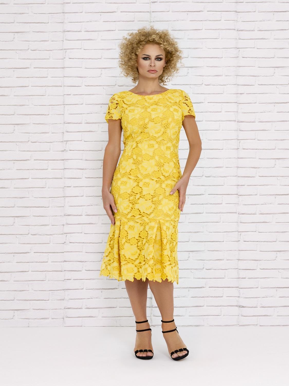 Vestido de cóctel corto amarillo verano 2020
