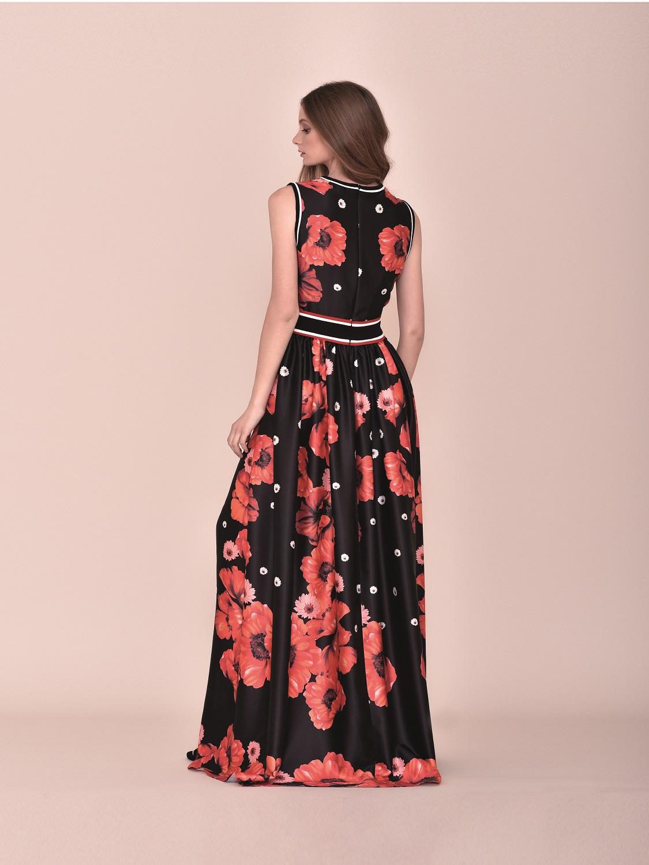 Vestido de fiesta largo negro con detalles florales 2020