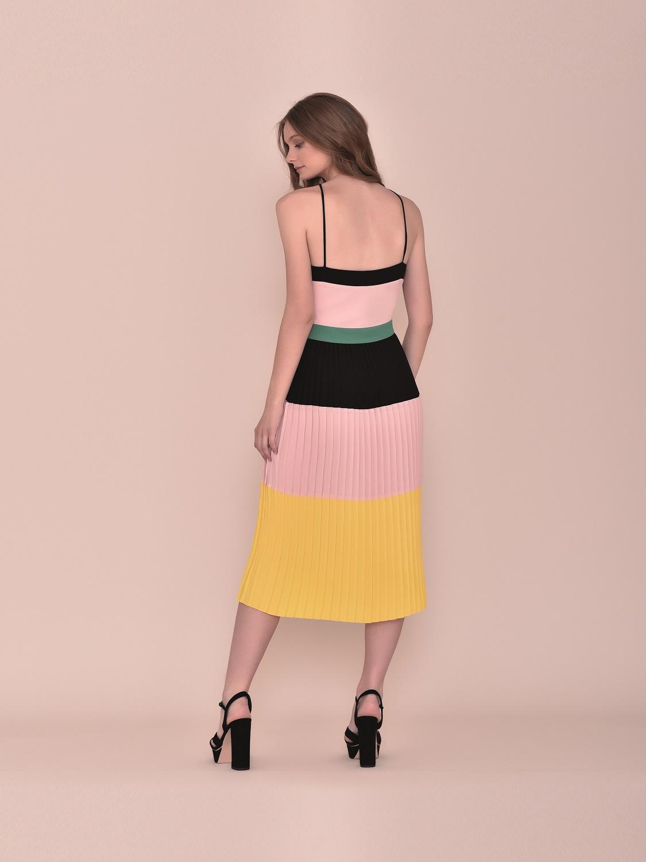Vestido de fiesta midi tipo retro tricolor 2020