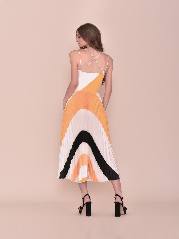 Vestido de fiesta tipo retro tricolor 2020 verano