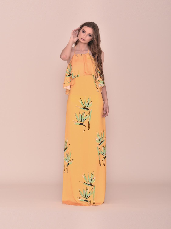 Vestido largo amarillo verano juvenil