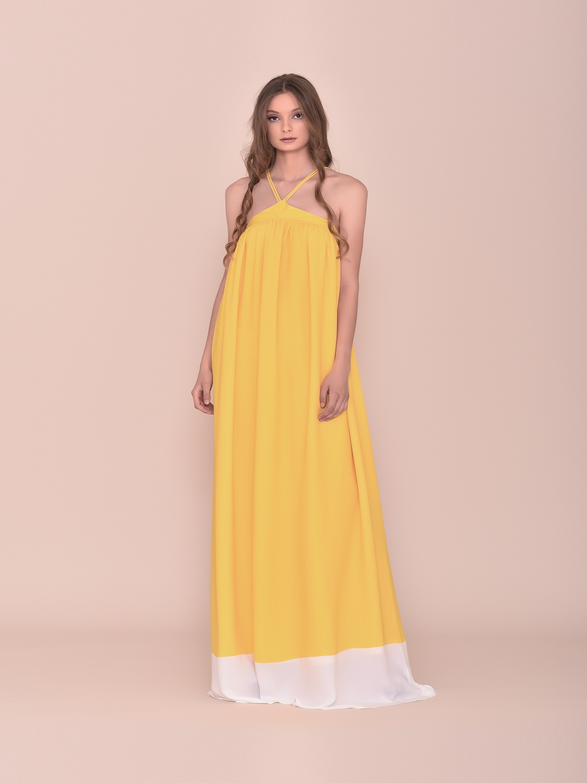 Vestido largo amarillo verano juvenil 2020