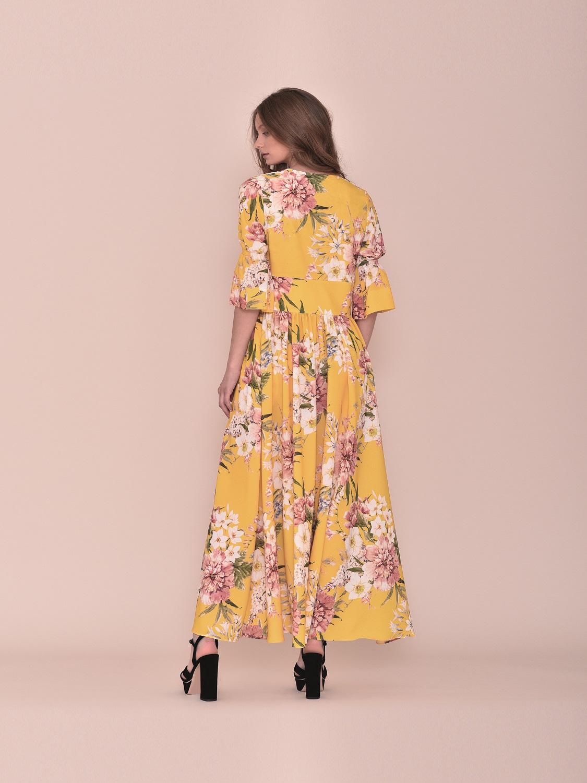 Vestido largo amarillo verano juvenil media manga 2020