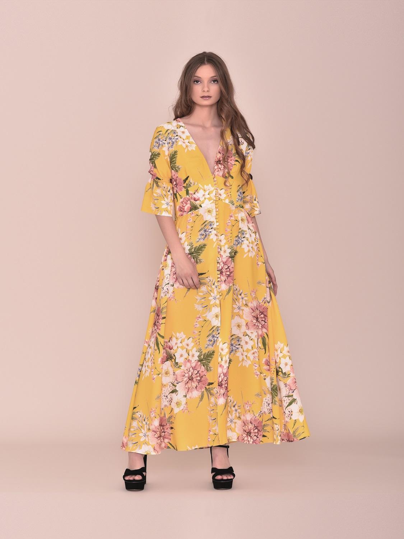 Vestido largo amarillo verano juvenil media manga