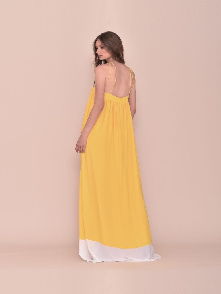 Vestido largo fiesta en amarillo y blanco