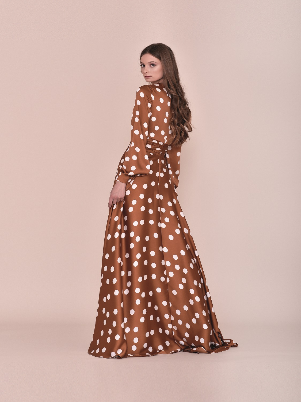Vestido largo primavera 2020 gasa con mangas