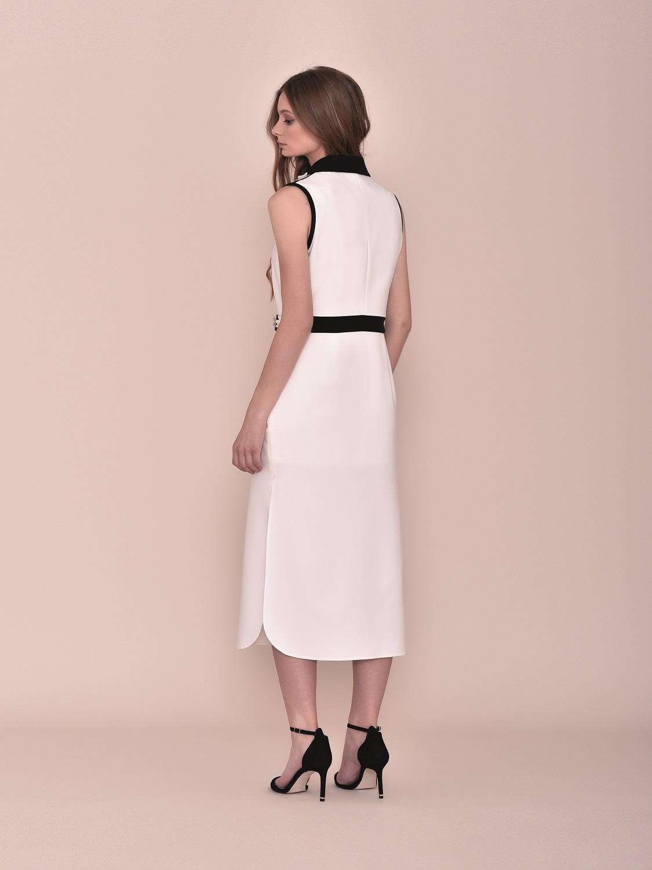 Vestido largo verano 2020 blanco con detalle pecho