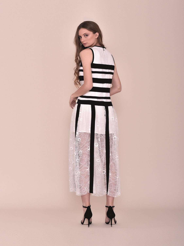 Vestido largo verano 2020 rayas blanco y negro