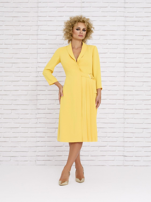 Vestido midi amarillo de primavera