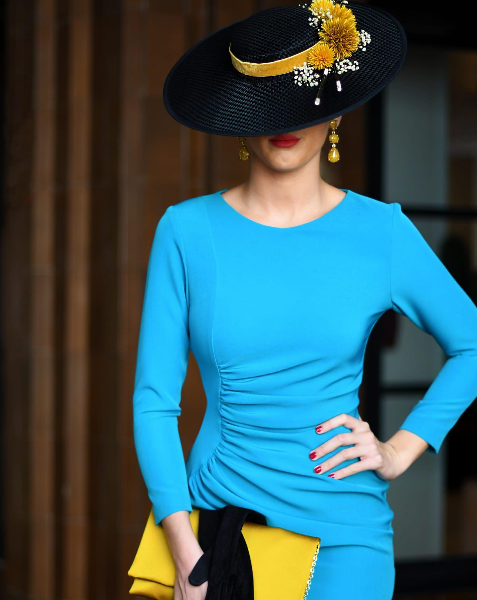 Vestido corto de fiesta azul turquesa