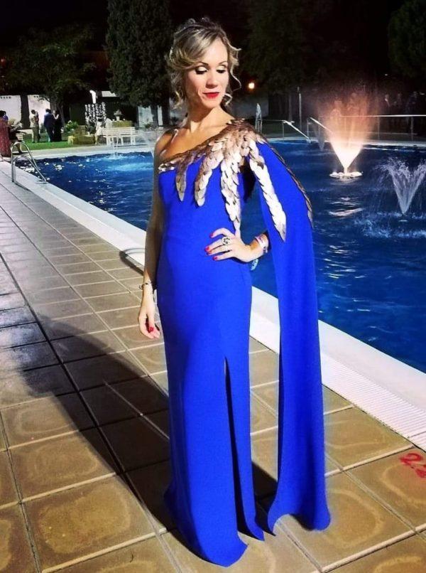 Vestido largo azul klein