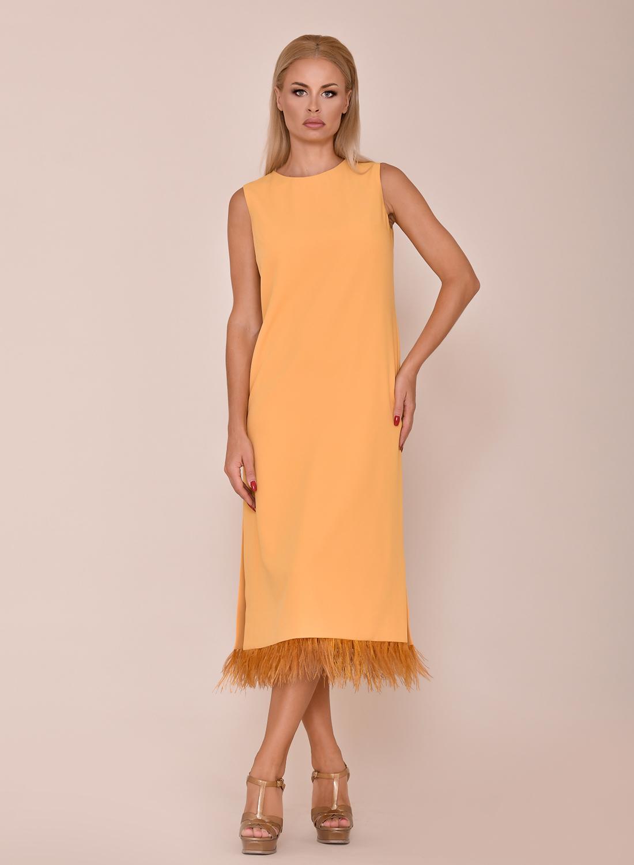 Vestido largo midi mostaza