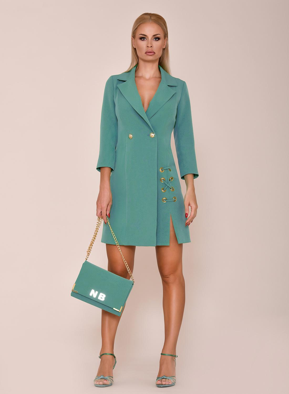 vestido corto verde azulado